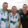 Triffitt (centre) with teammate Jake Sultana (left) who celebrated his 100 game milestone in the same game.